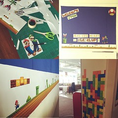 So yeah, labor of love. Halfway there, I think. Tetris bricks will eventually descend and oh, I also found Pac-Man throw pillows. #levelup #classroom #spaces #uwcsea_east #countdown #stoked #sy2015to2016