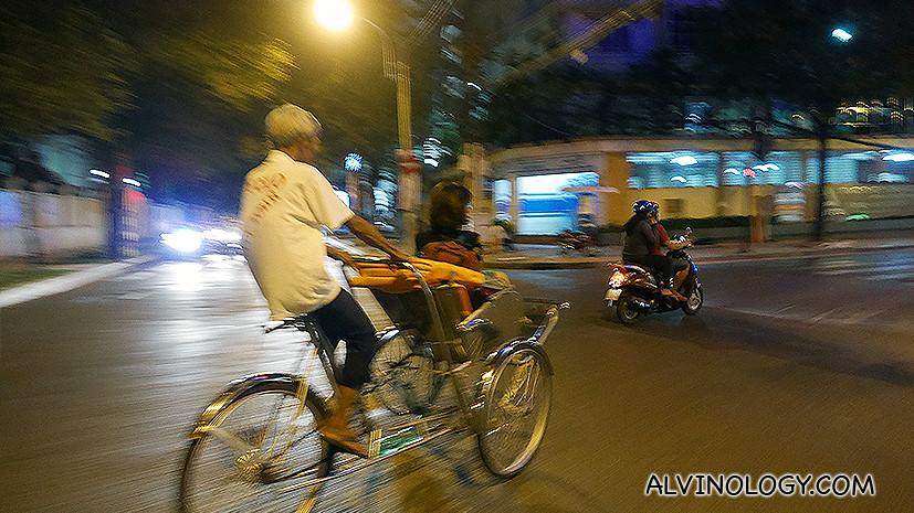 Zipping through the city traffic