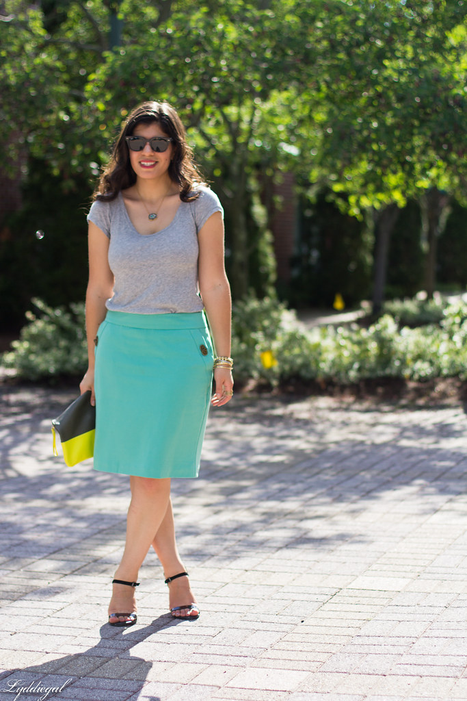 mint green pencil skirt, grey tee, neon clutch-2.jpg