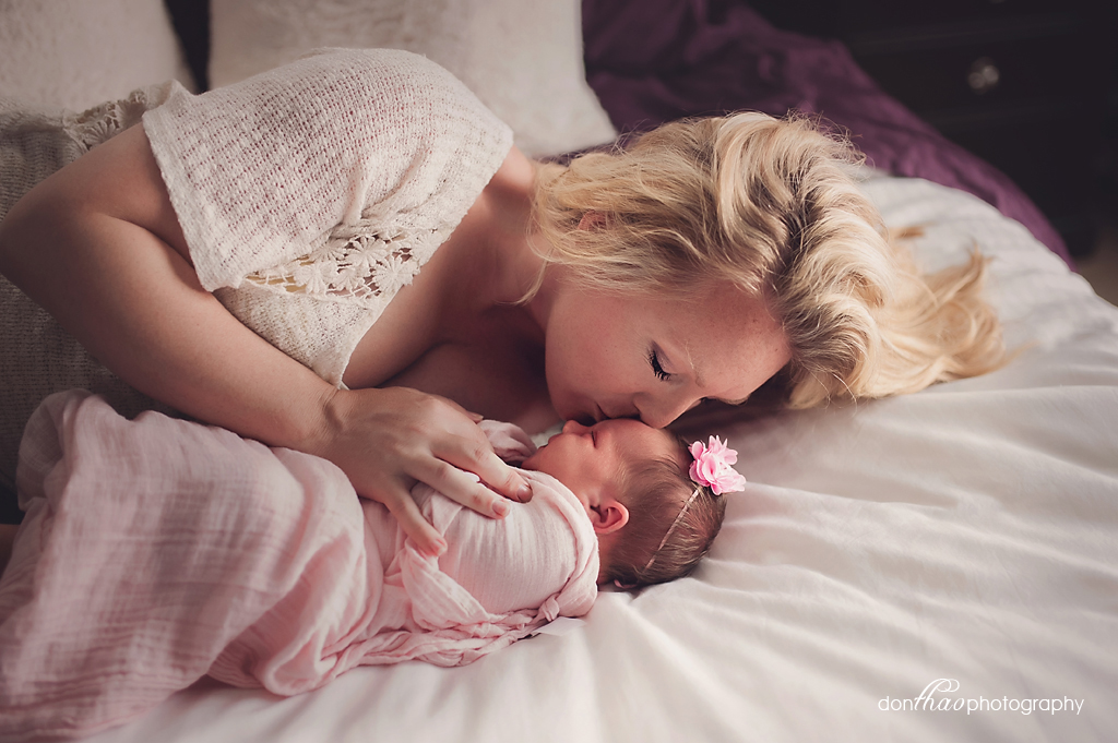 Hudsonville Michigan Editorial Family Newborn Photographer - Beautiful Baby Girl & Mother