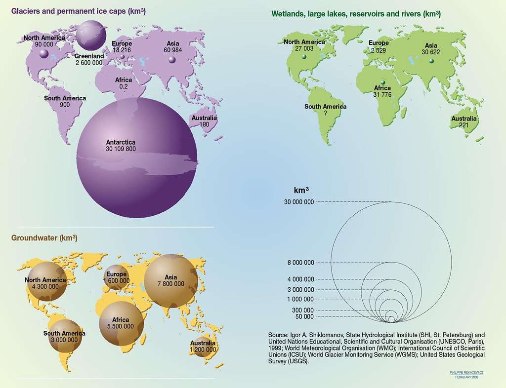 freshwater resources volume by continent grid arendal
