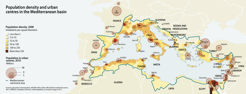 Map Of France Mediterranean Coast.Population Density And Urban Centres In The Mediterranean Basin