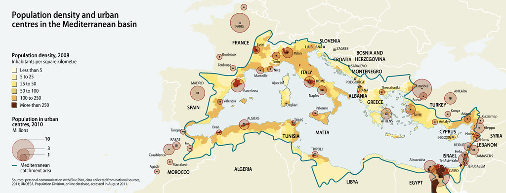 Population density and urban centres in the Mediterranean basin