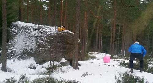 3-metrinen siirtolohkare on eriomainen maali. Hmm, vieläkö tuo pinkki pallo liikkuu? (kuva Tuula Klen)