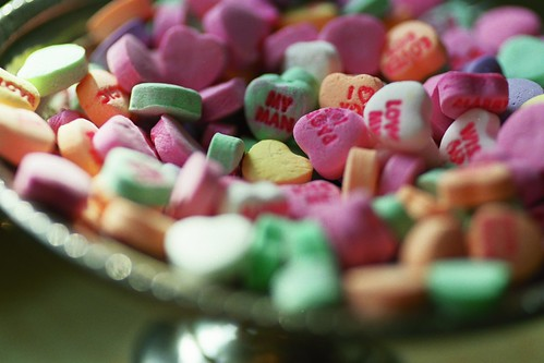 conversation hearts in silver dish
