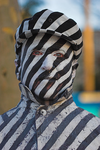South Bank Street Performer (Black and White Stripes)