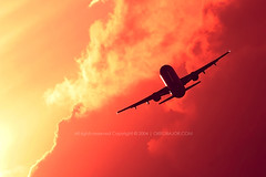 Commercial airplane in flight by Greg Bajor