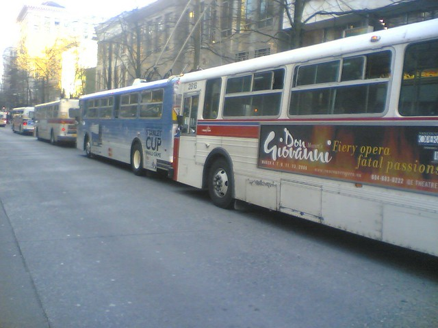 "The ""Train"" of Trolleys at 5 PM on Granville St."
