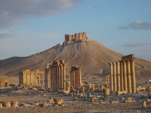 road castle sunrise dawn ruins day desert roman silk east arab arabia syria middle palmyra palmira tadmor istok bliski top20travelpix sirija pwpartlycloudy