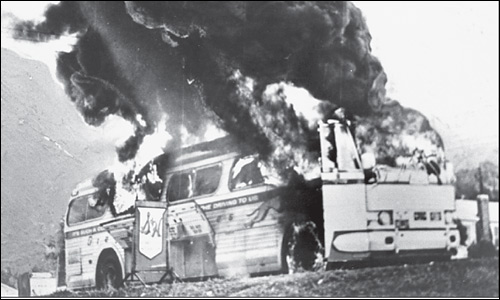 "Bus Carrying ""Freedom Riders"" Burns."