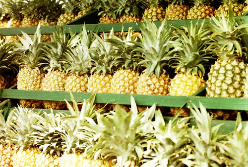 pineapples on shelves