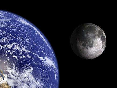 Earth and Moon to scale.