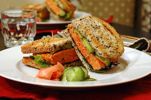 Asian salmon burger sandwich