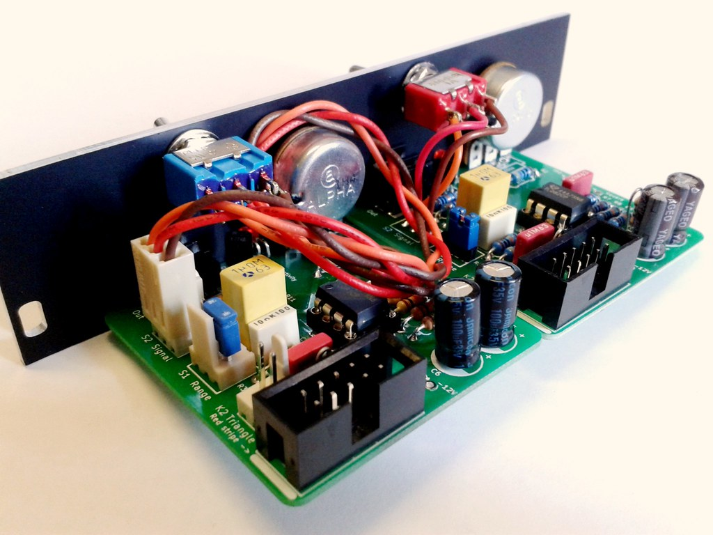 A double example of the LFO module, assembled and mounted on a custom faceplate.