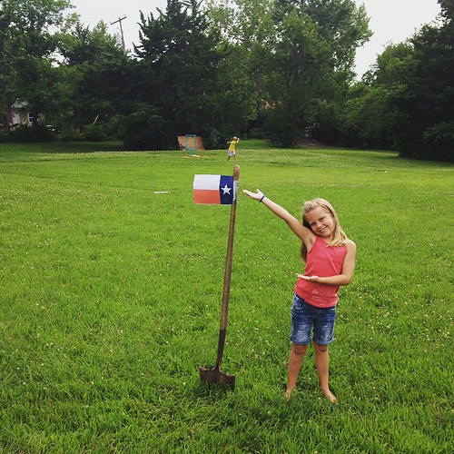 We made the #Wiffleball field #Texas style, with a flag pole on the field. #astros #MHK #ManhattanKS