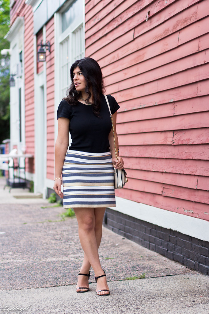 striped mini skirt, black tee, studded bag-1.jpg