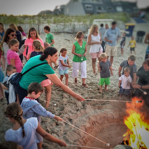 sprite toasts marshmallows at the Bethany Beach bonfire
