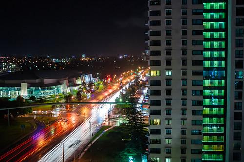 street city travel windows sky building night outdoors gold lights coast highway nocturnal traffic horizon australia queensland distant goldcoast 500px teamcanon