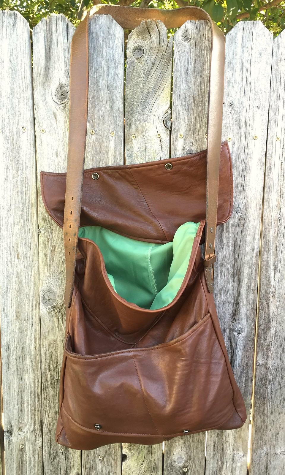 Recycled Leather Fold-Over Bag - After