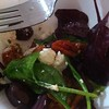 lunch - homegrown spinach and beet, olives semi dried tomatoes and store bought feta  mm