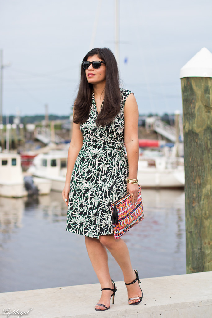 bamboo print wrap dress, sequined aztec clutch-1.jpg