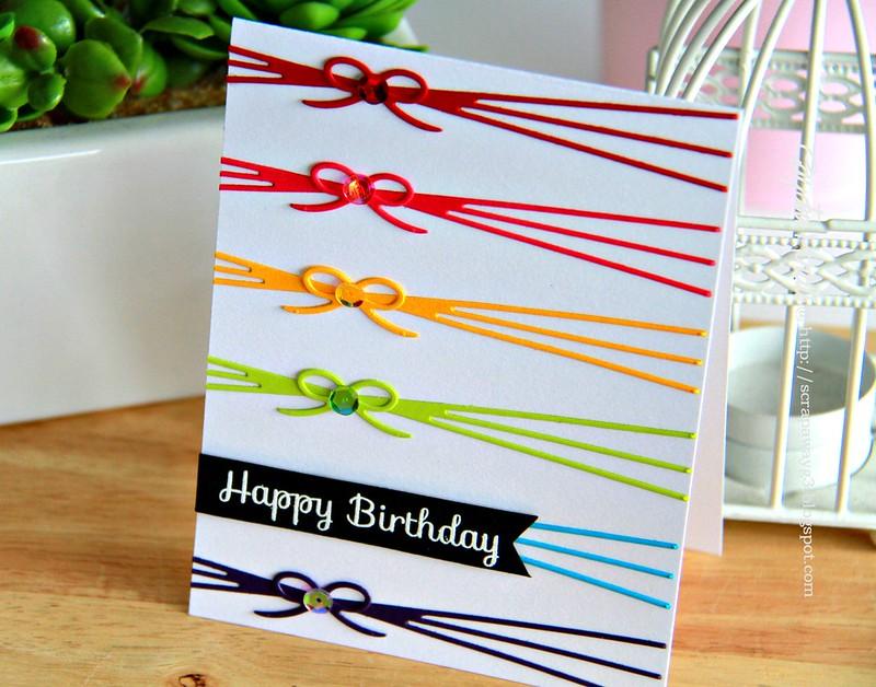 Happy Birthday bow card angled