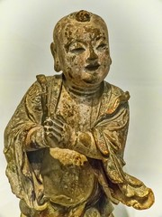 Attendant to Guanyin (Golden Boy) China Ming Period 1368-1644 CE Wood polychrome and gilt