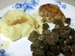 Chicken, Mashed Potatoes And Okra.