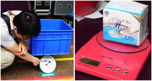 左:先測空廚餘桶重量、右:面紙重量。即便是面紙也要列入碳盤查。