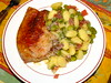 Pork chop with gnocchi, prosciutto and broad beans