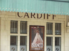 Cardiff Central Station - sign and Bianco advert