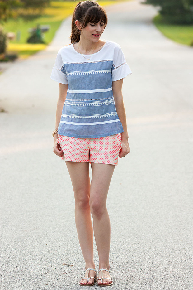 J.Crew Polk Dot Scallop Shorts, Flutter Sleeve Top