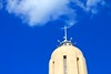 Bell Tower of the Immaculate Conception Parish, Albuquerque, in Broght Blue Sky and White Clouds
