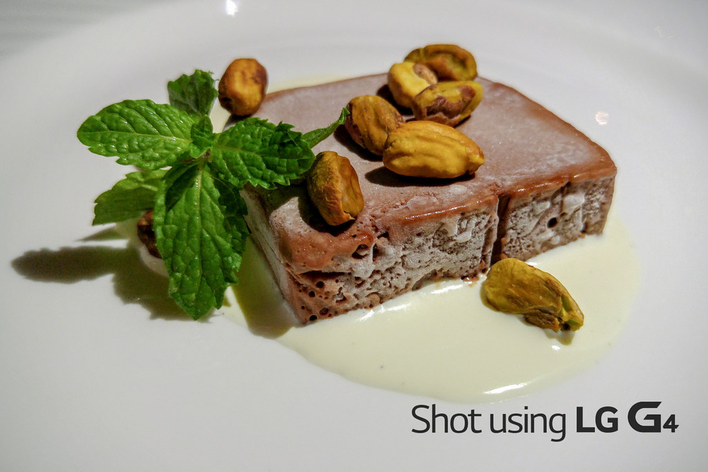 Felchlin Maracaibo Chocolate Terrine with Double Cream and Roasted Pistacchio