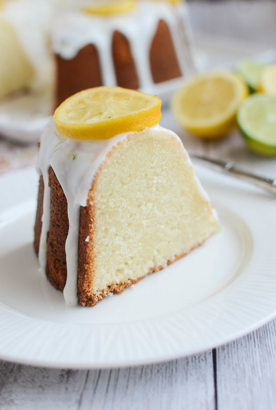 Lemon-Lime Pound Cake - moist citrus pound cake with a lemon-lime glaze and candied lemon slices. The perfect spring cake!