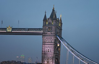 Image of Tower Bridge. towerbridge london docklands canarywharf misty mist night dusk lights