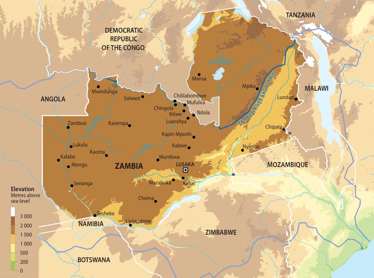 Map of Zambia GRIDArendal
