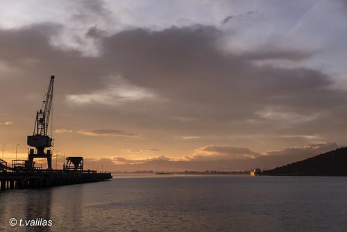 greece evia euboea euboia chalkis chalkida coalpier sunrise colour landscape outdoor industry cementindustry pier sea clouds crane ship goldenhour