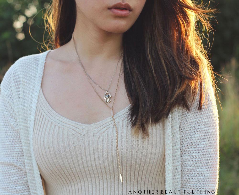 Hamsa hand necklace and ribbed crop top