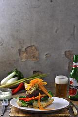Thai burger with Bintang