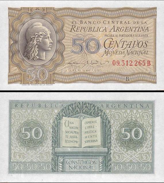50 centavos Argentína 1951-56, Pick 261