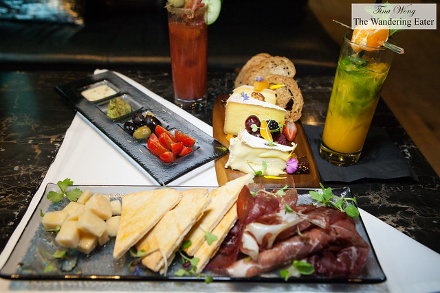 Cheese and Farm plates with the drinks