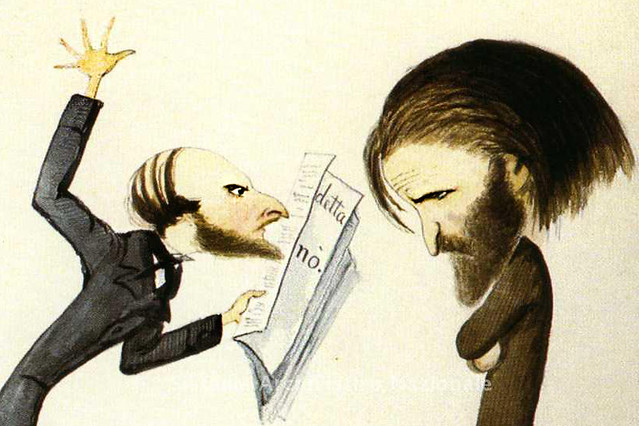 Detail from Verdi and Naples censor, caricature by Melchiorre Delfico