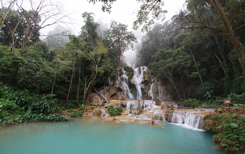 Kuang Si Waterfall on a foggy morning, Luang Prabang, Laos