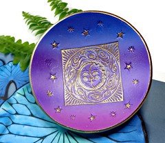 polymer clay Sun Moon & Stars jewelry dish