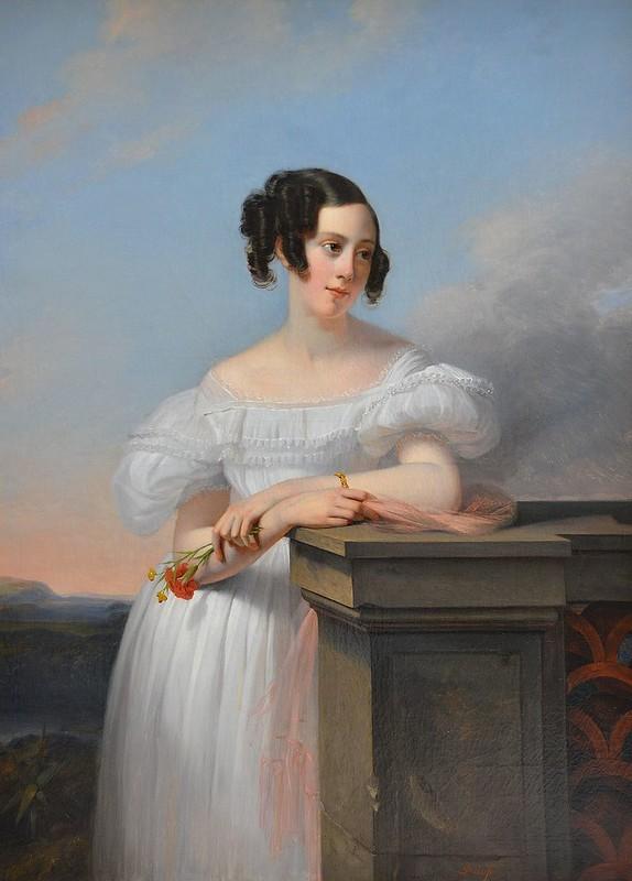 """Rouen (Seine-Maritime) - Musée des Beaux-Arts - """"Portrait de Madame Francis Vaussard née Elisabeth-Adélaïde Cavallier"""" (Claude-Marie Dubufe, 1790-1864)"""