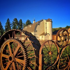 Dahmen Barn and the iron wheel fence in the Palouse country of southeast Washington.