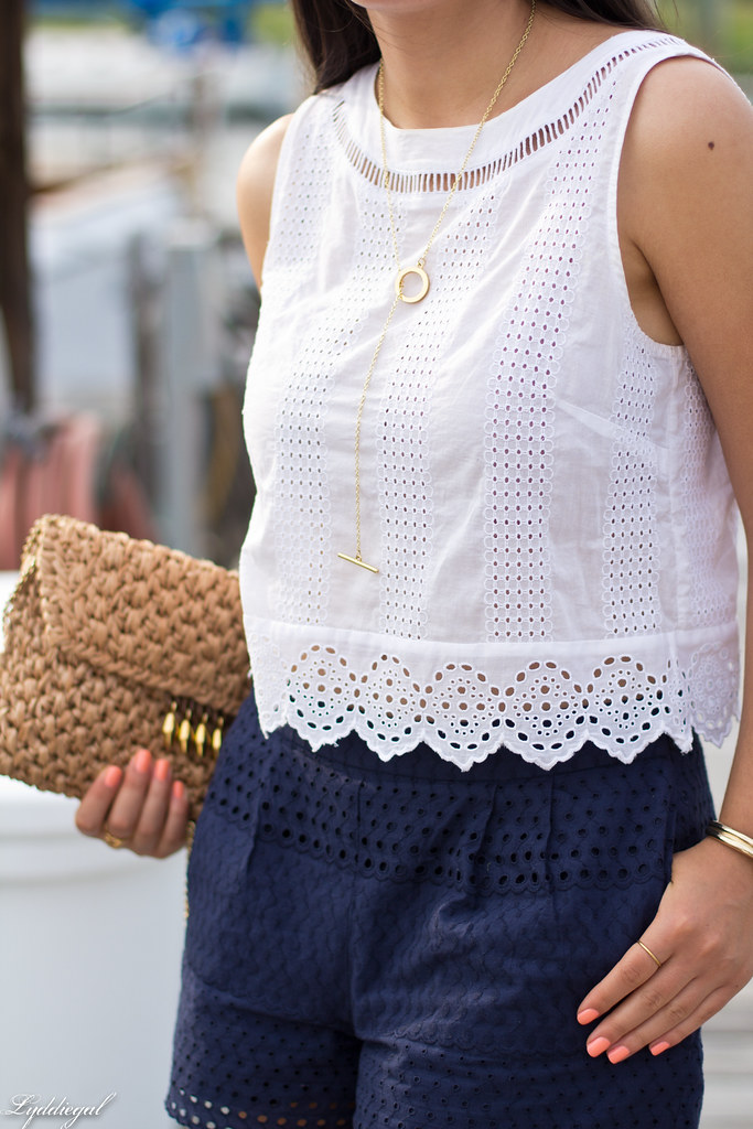 eyelet lace crop top and shorts, straw bag, white sandals-10.jpg