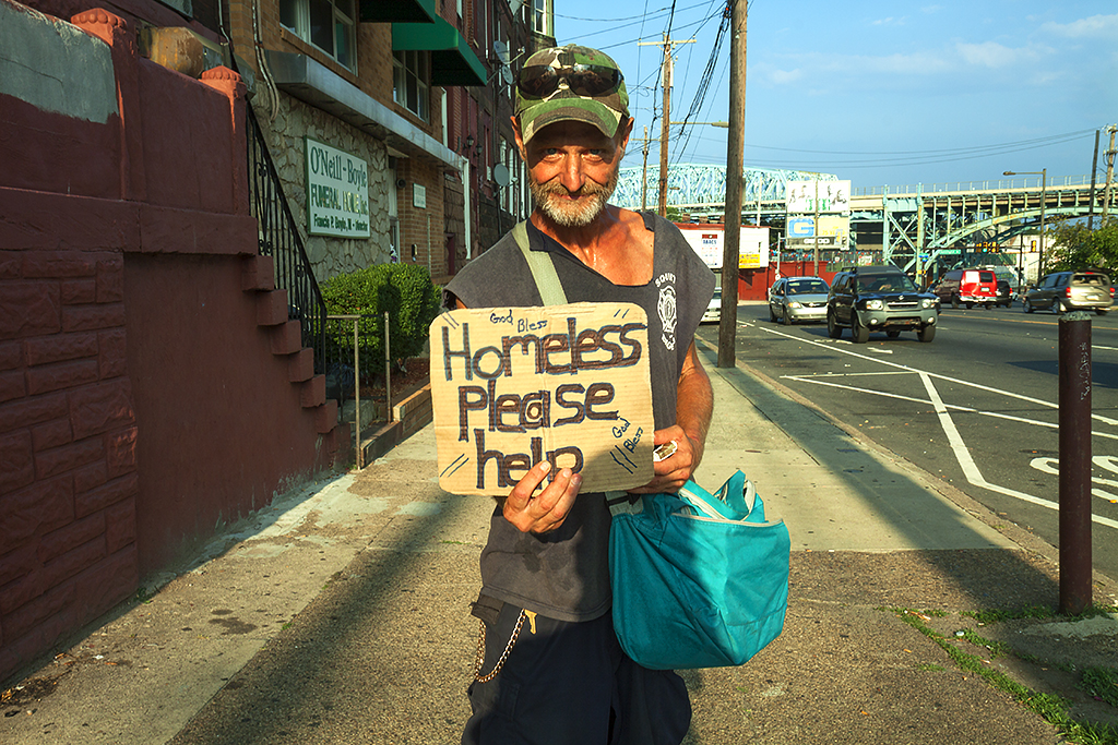 Panhandler who said he was happy on 7-28-15--Kensington