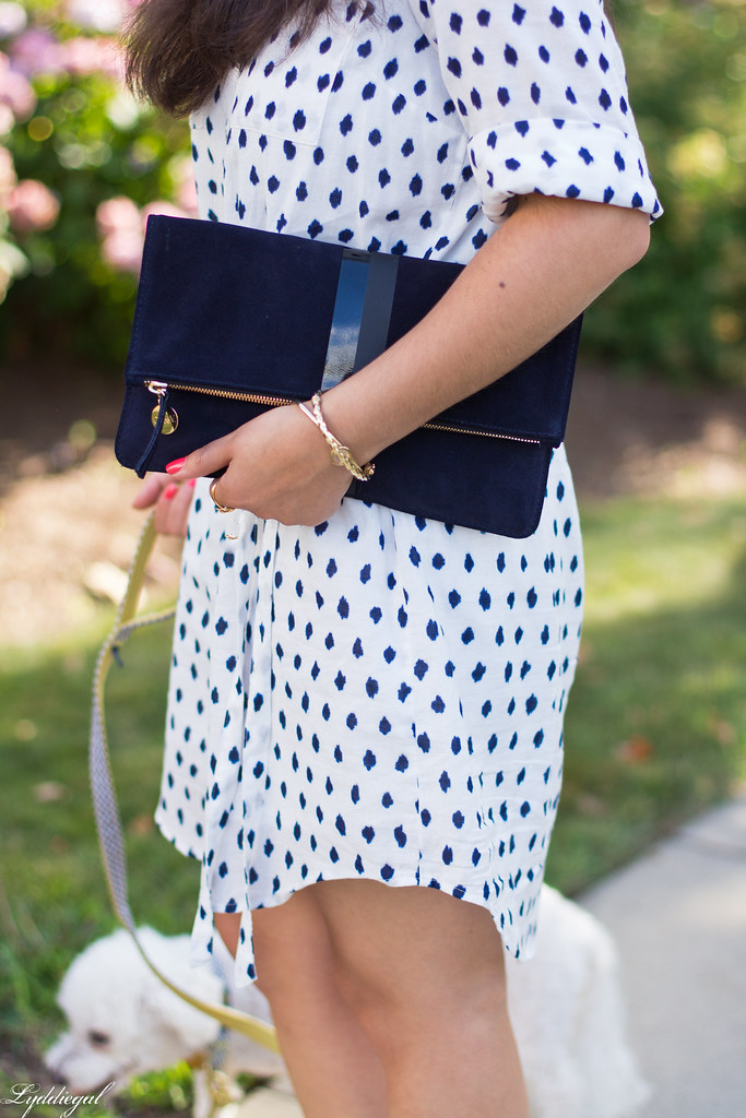 polka dot shirt dress, clare v clutch, dog walking outfit-7.jpg